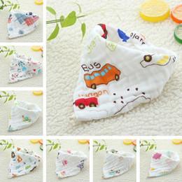 Gauze Scarf Cotton Australia - New Baby saliva towel baby triangle towel cotton bib gauze snap scarf newborn eating bib T8G014