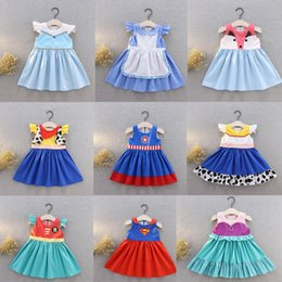Wholesale Little Girls Cartoon Dresses Snow White Princess Patchwork Printed Pleated Dress Kids Designer Clothes Girls Party Peform Costume T