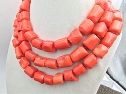 indian coral beads Australia - Natural Orange pink coral 14-16mm irregular bead necklace chain gemstone 52""