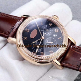 diamond display case NZ - New fashion watches Swiss 9100 Automatic Scratchproof Sapphire Day month 24H Display Diamond Bezel Rose Gold Case calfskin strap Mens Watch