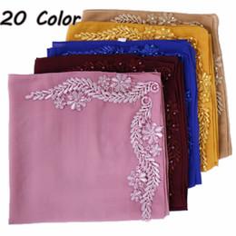 Shawl Beads Blue Australia - New bubble chiffon hijab long shawl floral with beads scarf women plain solid color scarves muslim islamic hijab wrap 20pcs lot