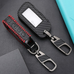 $enCountryForm.capitalKeyWord Australia - Carbon Fiber Style Key Case For Starline A93 A63 Russian Version Two Way Car Alarm Systems LCD Remote Keychain Ring Transmitter