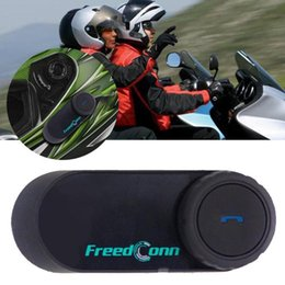 wireless helmets Canada - FreedConn T-COMOS Motorcycle Helmet interphone Wireless Earphone Intercom for 3 Rider FM Radio Headphone Springs EU Plug