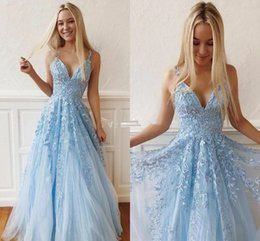 New oNe piece dress online shopping - Sky Blue New Prom Dresses V Neck Appliques Sweep Train Tulle A Line Formal Party Evening Gowns Classic Special Occasion Dresses Vestido