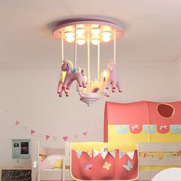 $enCountryForm.capitalKeyWord NZ - Newest Cartoon Creative Resin Pony Chandelier Boys, Girls, Bedrooms, Children's Rooms, American Colored rotate Horse Chandelier Lighting