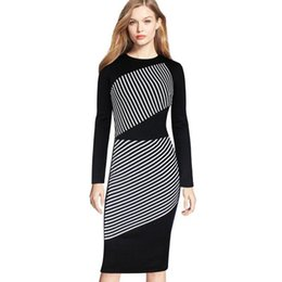 Black White Striped Long Dresses Australia - Sexy Slim Package Hip Pencil Dressed Casual Over Size Dresses Wholesale Plus Size Women Dress Black White Striped Long-sleeved Dress