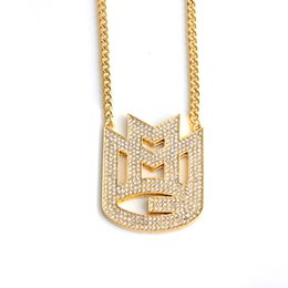 20d89f5649b Hip hop gold necklace for men women Crystal rhinestone hip hop jewelry  necklace English letter M shape pendant jewelry wholesale