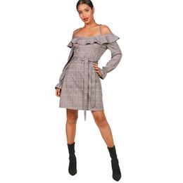 f09bf7a025c918 Sexy Women Strappy Plaid Dress Cold Shoulder Ruffles Tie Waist Autumn  Fashion Dress Flared Cuff Clubwear Party Mini Dress Grey