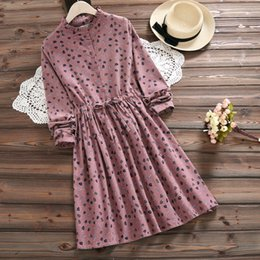 cfb8a4b108 Mori Girl Clothes Australia - Mori Girl Autumn Winter Women Dress Stand  Collar Print Cotton Ropa