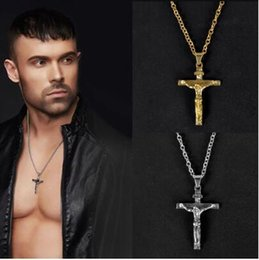 $enCountryForm.capitalKeyWord Australia - Gold Silver Christian Stainless Steel Pendant Necklace for Men Fashion Jewelry Crucifix Jesus Cross pendant Chain Necklaces