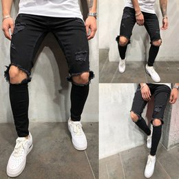 $enCountryForm.capitalKeyWord Australia - Hip-hop Ripper Hole Jeans Men High Street Male Knee Big Hole Black Jeans Slim Fitness Trousers Man Long Pant Clothes