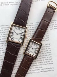 Discount rectangle dial watches men - New Men Wristwatches High Quality Women Quartz Watch Fashion Gold Dial Leather Exquisite Calendar Lovers Watches
