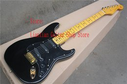 Chinese  Factory direct,Wholesale high quality Custom Body, maple neck, EMG pickup st black electric guitar with gold hardware -17-12 manufacturers