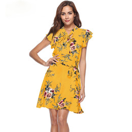 $enCountryForm.capitalKeyWord UK - New 2019 Summer Dress Butterfly Sleeve Print Bow V-Neck Dress A Line Casual Fashion Sexy Ladies Boho Yellow Dresses For Women