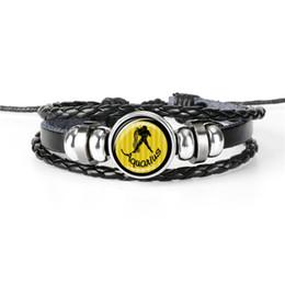 $enCountryForm.capitalKeyWord Australia - Fashion Leather Rope Beaded Bracelet for Women Men Black Braided Multilayer 12 Constellation Zodiac Aquarius Time Gem Glass Cabochon Jewelry