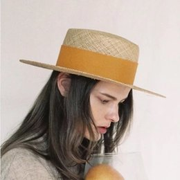 Discount elegant hats for beach - 2019 summer this natural treasure grass flat along the beach fashion grass hat Hepburn style elegant hat sun hats for wo