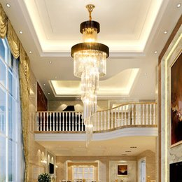 long spiral modern chandelier Australia - Modern luxury large gold pendant spiral crystal chandelier lighting creative long chandeliers crystal led lamp for hotel hall home stairs