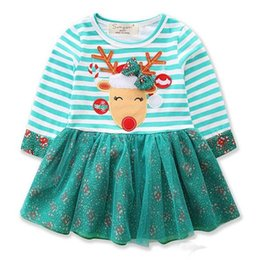 Fabric Patchwork Clothes Australia - Dual Fabric Dress for Girls Christmas Patchwork Striped Bow Deer Baby Girls Dresses Autumn Clothes for Children Kids Clothing 1-6Y