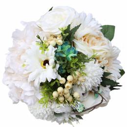 $enCountryForm.capitalKeyWord Australia - 21CM Artificial Flower Wedding Bouquet Simulation Cloth Flowers Green Leaves Bridal Bouquet Ribbon Rhinestones Holding Flowers