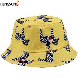 68f8b1507bc Casual Printed Zebra Swallow Bucket Hats For Women Summer Hat Bob Panama  Caps Female Flat Fisherman Hat Outdoor Hiking Cap