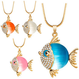 goldfish charms Australia - New Brand Fish Crystal Goldfish Enamel Rhinestone Long Necklaces & Pendants For Women Charm Party Gift maxi statement fashion jewelry