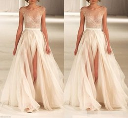 $enCountryForm.capitalKeyWord Australia - Charming Ivory Prom Dresses Sheer Neck Capped Sleeves Lace Applique High Slit Riboon Tulle A Line Custom Made Formal Evening Gowns