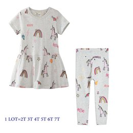 Striped purple leggingS online shopping - Girl Summer Dress with Match Leggings Kids Clothes Sets Unicorn Animals Print Cute Dress Breathable Leggings Years