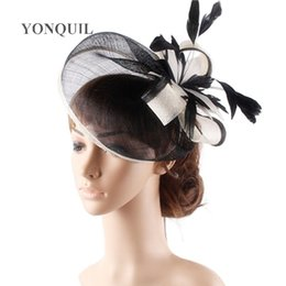 novelty flower hat NZ - High quality 18 colors select cocktail hats sinamay base with feather flower fascinator hair accessories occasion wedding hats T200508