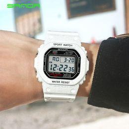 $enCountryForm.capitalKeyWord NZ - 2019 LED Digital Student Watch Blue Strap Factory Wholesale Square Dial Men's Sports WristWatches Waterproof Shock Multifunction Smart Watch