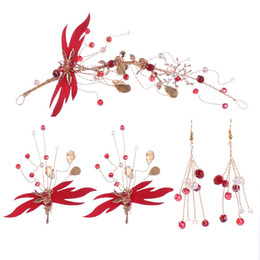 China Women Chinese Style Red Flower Hair Jewelry Set Bride Wedding Beauty Headband Earrings Ladies Dragonfly Hair Accessories Set cheap chinese bride hair suppliers