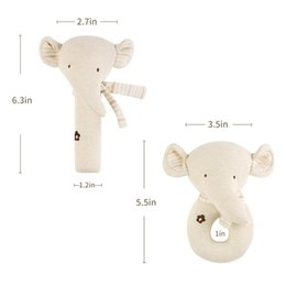 Baby Rattles Australia - 2Pcs Baby Rattle Squeaky Toy Plush Soft Hand Bell Set Cartoon Stuffed Animal Educational Activity Toys Bear