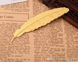 Wholesale 7 Colors Metal Feather Bookmark Document Book Mark Label Golden Silver Rose Gold Bookmark Office School Supplies C167