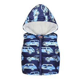 baby boy sleeveless top Australia - Loose Toddler Kids Baby Girls Boys Sleeveless Car Print Hooded Warm Print Waistcoat Tops Sleeveless Zipper Vest Children