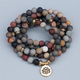 $enCountryForm.capitalKeyWord Australia - Edothalia 108 Beads Mala Strand Bracelets Women Matte Ocean Stone 8mm Yoga Jewelry Lotus Charm Bracelet Dropshipping J190625