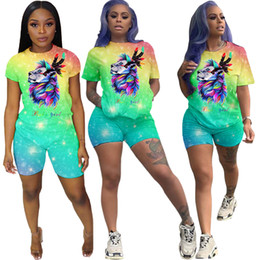 $enCountryForm.capitalKeyWord Australia - Summer Women Two Piece Shorts Set Print Outfits Women Tracksuits Gradient Green Baby Girls Short Sleeve Top Shorts Suits Fashion Clothes