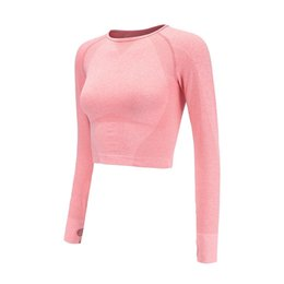 20f443c9db2 CretKoav Sexy Crop Top High Stretchy Patchwork Workout T Shirts For Women  Gradient Color Long Sleeve Fitness Yoga Shirt #278641