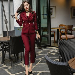 pencil suits Canada - Sexy Wine Red Slim Style Women Pant Suits Slim Waist Buttons Blazer Jacket & Pencil Pant Style Women Set 2019 Spring