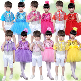$enCountryForm.capitalKeyWord Australia - Jazz Dance Costumes Kids Boys Girls Colorful Sequins Outfits Children Stage Show Costumes Chorus Performance Wear Suit PY167
