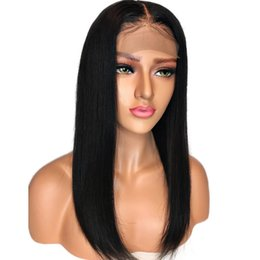 Silky Straight Lace Wigs UK - Brazilian Straight Lace Front Wigs Human Hair Pre Plucked Hairline Black Women Silky Straight Full Lace Wig With Baby Hair