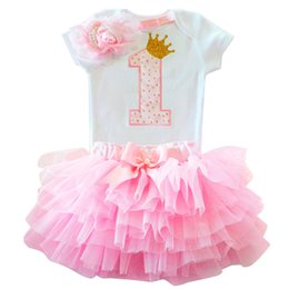 christening clothes for girls UK - Baby Flower 1st Birthday Clothing Sets Summer New Princess Party Baby Sets Toddler Clothes Suits Christening Vestido for Girls