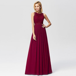 e241a56bd0a Prom Dresses Elegant A-line Sleeveless O-neck Burgundy Lace Appliques Cheap  Long Party Gowns For Wedding Guest Gala Jurken Q190516