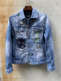 Hand Painting Fashion Brands Australia - 2019 designer brand denim jacket, washed jacket, hand-stitched fashion paint, casual fashion simple wild men's motorcycle casual denim jacke