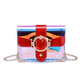 travel pillow free shipping NZ - New Transparent Clear Chain Shoulder Bag Summer Women Girls Colorful Laser Flap Bag Fashion Travel Beach Holographic Crossbody Bag free ship