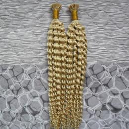 $enCountryForm.capitalKeyWord NZ - 200g Kinky Curly 1g strand Blond Keratin Human Fusion Hair I Tip Non-remy Human Pre Bonded Hair Extension Real 100% Human Hair