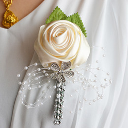 Bridal Brooch Flower UK - Wedding Bridal Bridegroom Flower Brooch Corsage Flower Lapel Pin Bridesmaid Groomsman Brooch Handmade Rose Pin Fashion Wedding Boutonniere
