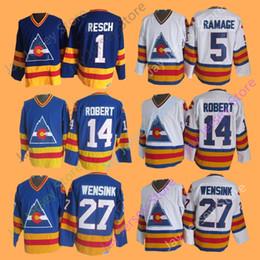 4a477bc2556 Ice Hockey Colorado Avalanche Jersey 1 Chico Resch 5 Rob Ramage 14 Rene  Robert 27 John Wensink CCM Vintage Home Away