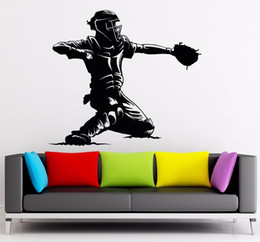 Media Player Live Australia - Home Art Mural Vinyl Baseball Catcher Player Wall Stickers Sports Man Fan Wall Mural Home Living Room Design Baseball Decor