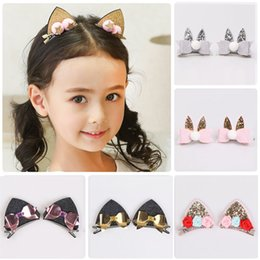 cat ear barrettes 2019 - Baby Girl Hairpin Kids Cat Ear Hairpin Cartoon Bow Stereoscopic Sequins Stars Cloth Baby Girl Barrettes 32 discount cat