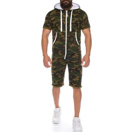 $enCountryForm.capitalKeyWord UK - SHUJIN Casual Camo Tracksuit Jumpsuit Mens Overalls Summer Short Sleeve Hoodies Sweatshirt Sportwear Short Pants Zipper Romper