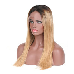 Long Lasting Hair NZ - Long lasting Ombre color Full Lace & Lace Front Wig Brazilian Hair with baby hair With Dark Roots For black Women can be dyed